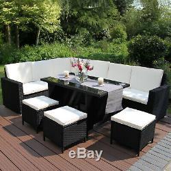 Rattan Garden Corner Sofa Furniture Dining Set Table Black / FREE Rain Cover