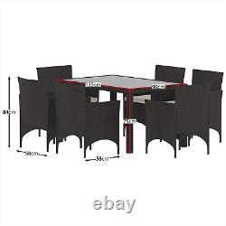 Rattan Garden Dining Set Furniture Table Chairs Outdoor 6 Seater Patio Brown