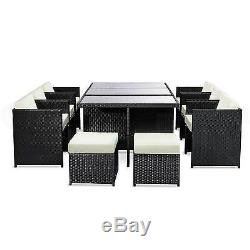 Rattan Garden Furniture 11pc Chairs Stool Table Outdoor Patio Rattan Black/brown