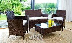 Rattan Garden Furniture 4 Piece Set Chairs Sofa Table Outdoor Patio Set