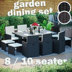 Rattan Garden Furniture 8 10 Seater Dining Table Chairs Cube Set Outdoor Patio