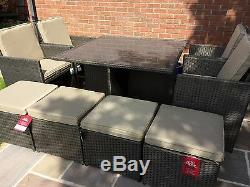 Rattan Garden Furniture 9 Piece Cube Set Hand Woven Waterproof Resin Whicker