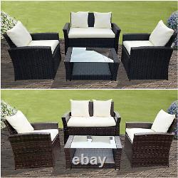 Rattan Garden Furniture Conservatory Sofa Set 4 Seat Table Chair Armchair Patio