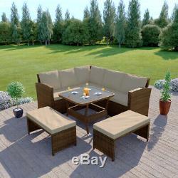 Rattan Garden Furniture Corner Dining Table Sofa Patio Bench Set Grey Brown