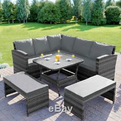 Rattan Garden Furniture Corner Dining Table Sofa Patio Set Bench Grey Brown