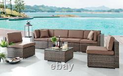 Rattan Garden Furniture Corner Sofa Set Grey Outdoor Conservatory Patio Dining