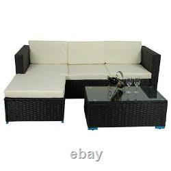 Rattan Garden Furniture Corner Sofa Set Table Patio Outdoor Black White 4 Seater