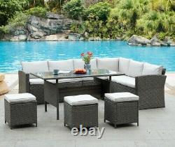 Rattan Garden Furniture Corner Stool Set Outdoor Dining Table Sofa Group Set