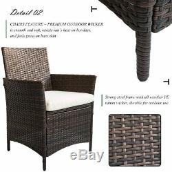 Rattan Garden Furniture Dining Set Patio Rectangular Table 6 Chairs (Brown)
