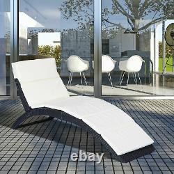 Rattan Garden Furniture Folding Sun Lounger Pool Recliner Bed Chair With Cushion