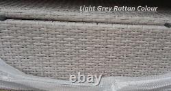 Rattan Garden Furniture Light Grey Outdoor Patio Dining Set Corner L-Shaped Sofa