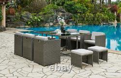 Rattan Garden Furniture Outdoor 11 Piece Cube Set Conservatory Patio Dining