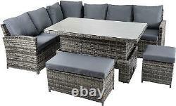 Rattan Garden Furniture Outdoor Corner Sofa Set RISING TABLE Patio Stools 9 Seat