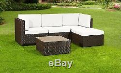 Rattan Garden Furniture Patio Corner Sofa Set Lounger Table Outdoor Conservatory