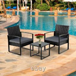 Rattan Garden Furniture Set 3 Pcs Wicker Patio Set Table Chairs WithCushion, Black