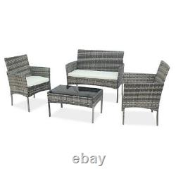 Rattan Garden Furniture Set 4 Piece Chairs Sofa Outdoor Dining Table Bench Patio
