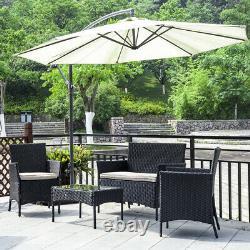Rattan Garden Furniture Set 4 Piece Chairs Sofa Table Patio Outdoor Conservator