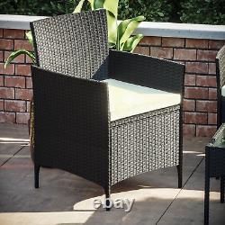 Rattan Garden Furniture Set 4 Piece Chairs Table Sofa Outdoor Patio Set Black