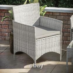 Rattan Garden Furniture Set 4 Piece Chairs Table Sofa Outdoor Patio Set Grey