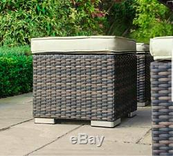Rattan Garden Furniture Set 9 Seater Sofa Table Stool Patio Conservatory Corner