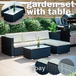 Rattan Garden Furniture Set Corner Lounge Sofa Table Outdoor Dining Bench
