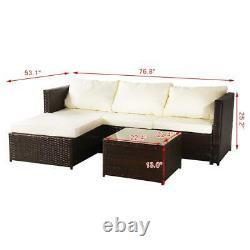Rattan Garden Furniture Set Corner Lounge Sofa Table Outdoor Dining Bench Brown