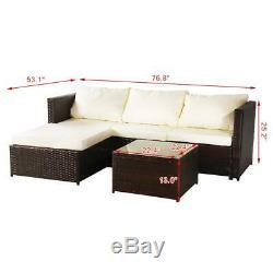 Rattan Garden Furniture Set Corner Sofa Glass Table Outdoor Comfort 4 Seater Uk