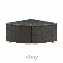 Rattan Garden Furniture Set Corner Sofa Outdoor Patio L-Shape Brown Blue Cushion