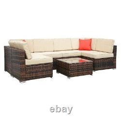 Rattan Garden Furniture Set Corner Sofa Table Chairs 6 Seater Outdoor Furniture