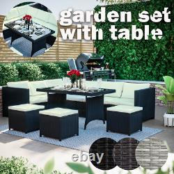 Rattan Garden Furniture Set Cube Sofa Table Outdoor Dining Bench Patio Belgrave