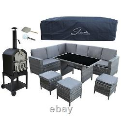 Rattan Garden Furniture Set Grey Sofa Table Stools Patio Dining FREE Pizza Oven