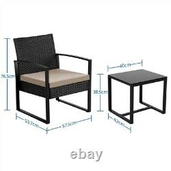 Rattan Garden Furniture Sets Weaving Wicker Chairs and Table Outdoor with Cushions