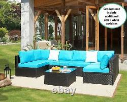 Rattan Garden Furniture Sofa Corner Set Black Outdoor Conservatory Patio Dining