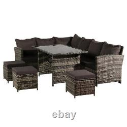 Rattan Garden Furniture Sofa Dining Table Set Conservatory Outdoor Patio Grey