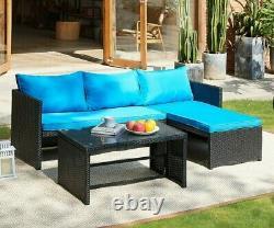 Rattan Garden Furniture Sofa Set Brown or Black Patio Outdoor Corner Lounge Seat