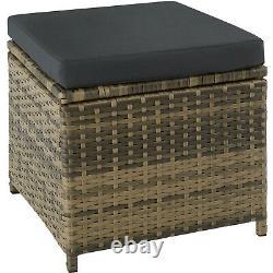Rattan Garden Patio Furniture Set Sofas Stool Table Glass Plate Outdoor Natural