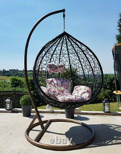 Rattan Hanging Swing Patio Egg Chair Floral Cushion Garden Outdoor Furniture