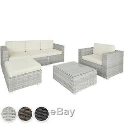 Rattan Lounge Garden Patio Furniture Set Chairs Table Outdoor Steel Seat Cushion