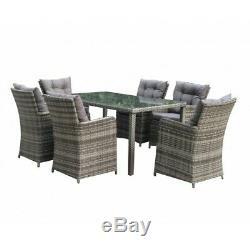 Rattan Outdoor 6 Seat Garden Dining Set in Grey garden furniture LOWSTOCK