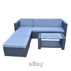 Rattan Outdoor Garden Patio Furniture Set Wicker Corner Sofa with Coffee Table