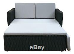 Rattan Outdoor Garden Sofa Furniture Love Bed Patio 2 seater Black With Cover