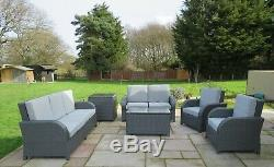 Rattan Patio Garden Conservatory Outdoor Sofa Set Chairs Furniture 6 pcs GREY