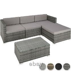 Rattan Seating Set 5 PCs 3 Seats Stool Table Glass Lounge Furniture Garden Patio