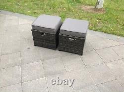 Rattan Small Footstool Outdoor Garden Furniture patio furniture grey in 2 pcs