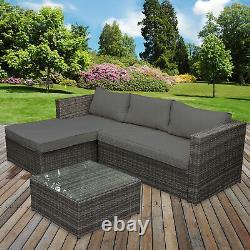 Rattan Sofa Set Garden Corner L Shaped Outdoor Patio Furniture Set Seating Table