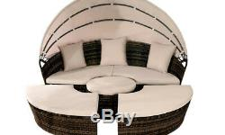 Rattan Sun Island Luxury Canopy Sofa Lounger Day Bed Outdoor Garden Furniture