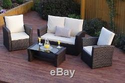 Rattan Weave Garden Furniture Conservatory Sofa Chair Table Set + FREE COVER