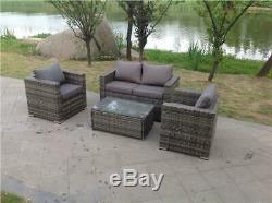 Rattan Wicker Conservatory Outdoor Garden Furniture Grey Set Corner Sofa Table