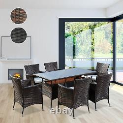 Rattan Wicker Garden Furniture Cube Dining Set Patio Rectangular Table 6 Chairs
