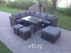 Rattan corner sofa set Dining table ottoman footstools outdoor garden furniture